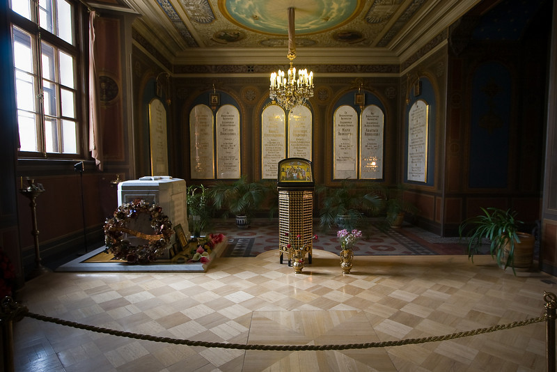 Tombs of the last royal family, Nicholas II and Alexandra and their children.