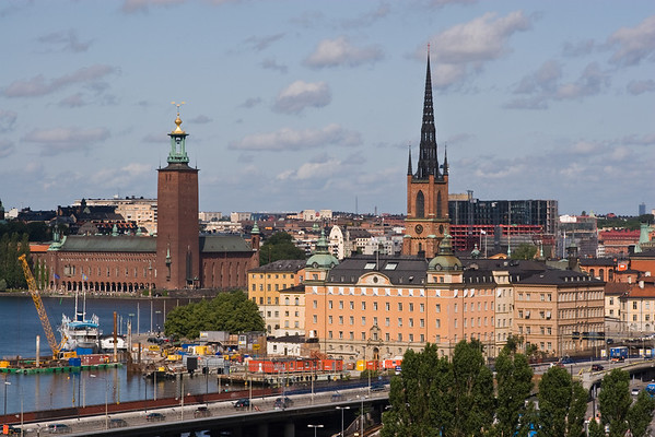 Stockholm city vista with City Hall on the left