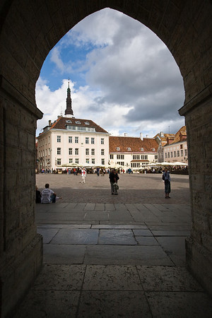 Town Hall Square through a Town Hall arch