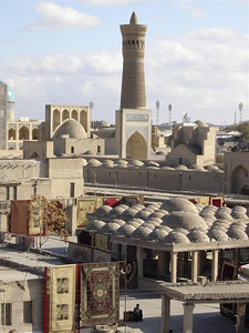 Uzbekistan: Bukhara's old town really feels like an ancient city on the Silk Road. The Kalon Minaret in the distance was once the tallest structure in all of Central Asia. It has survived many earthquakes, and was the only thing left standing by the armies of Ghengis Khan.