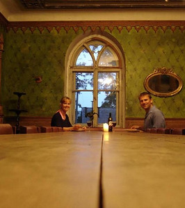 Latvia: There was a storm raging outside so we made ourselves comfortable at the Banquet Hall table then moved into the Throne Room for coffee and cards.