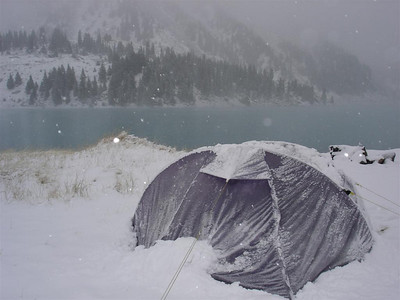 Kazakhstan: Our second trip out into the Tian Shen mountains on a spur that separates Kazakhstan from Kyrgyzstan. It was a lovely lake scene when we went to bed, we woke up to a Winter wonderland! Beautiful.