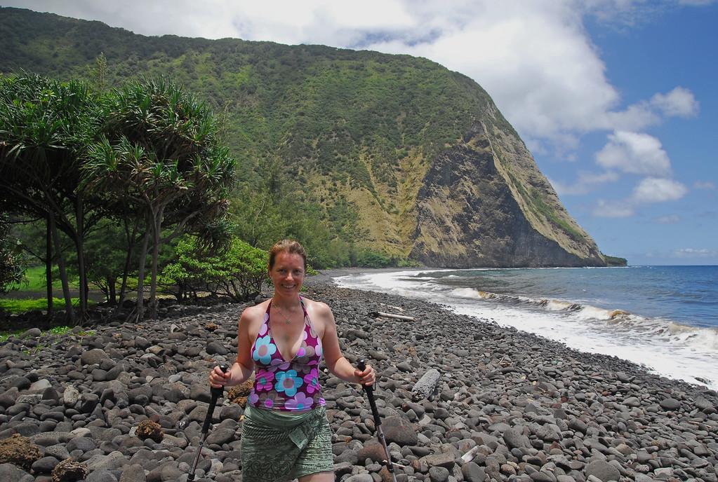 Sarah on the waimanu rocks