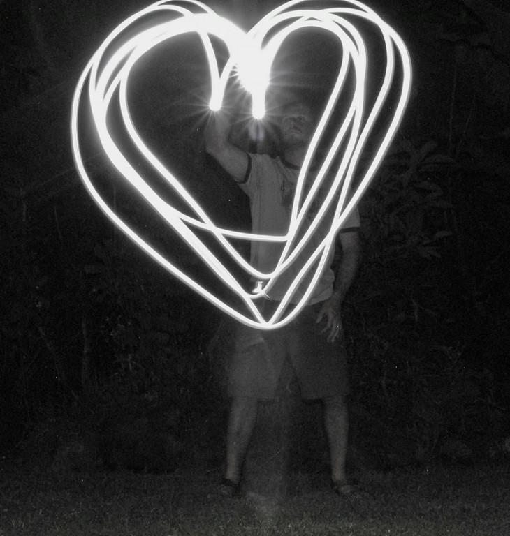 Night light exposures, heart,  fun in Pahoa