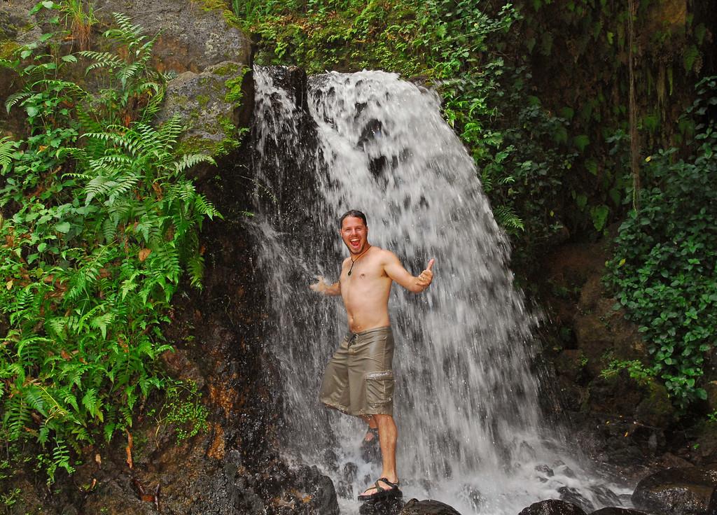 Jared under Kolekole Beach park falls