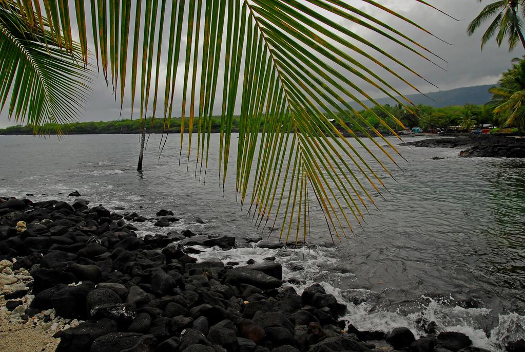 Hiki-au Heiau park rocks, ocean and palms