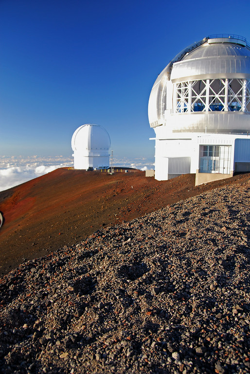 Observatories and volcanic rocks at summit