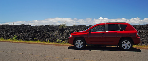 Our Jeep Compass rental- and lava rocks