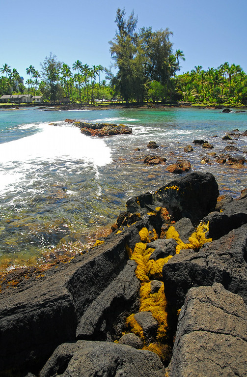 Rocks and tropical Pacific waters