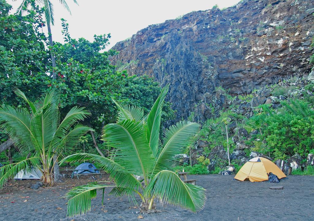 Our camping spot at Ho'okena Beach park