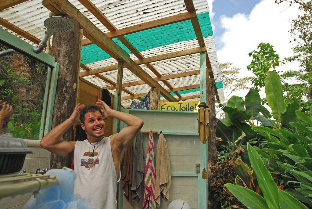 """Jared again """"faking a shower"""" in outdoor jungles"""