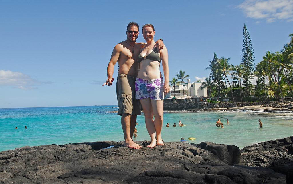 Jared and Sarah at white sand beach, Kona