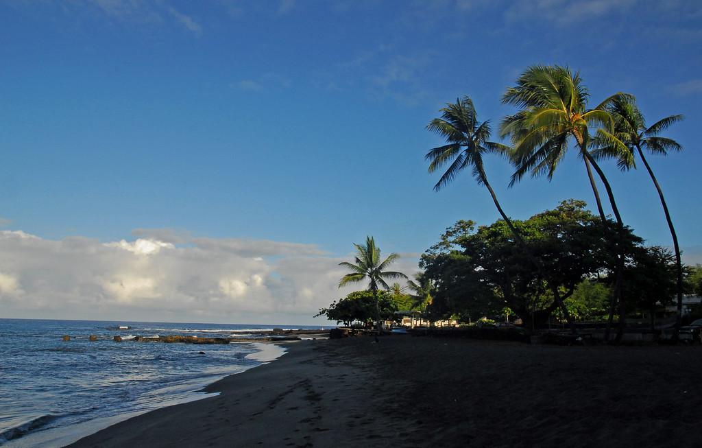 Our camping beach at sunrise Ho'okena Beach park