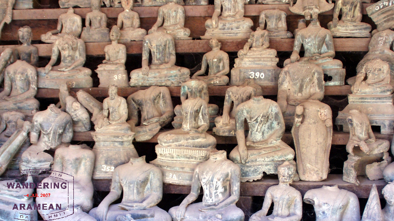 Some of the many damaged Buddhas on display.