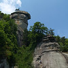 """Chimney Rock, North Carolina : One of our many hikes at this great park near Asheville. Lake Lure is in the valley below. The movie """"Last of the Mohicans"""" was partially filmed here. Hike was July 2007."""