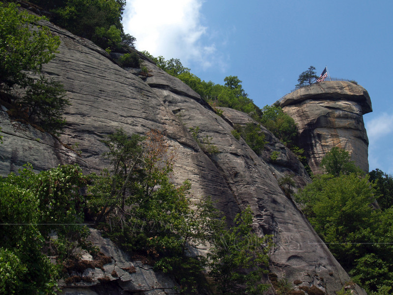 """Near entrance-- Chimney Rock S.P., showing """"chimney"""" and cliffs."""