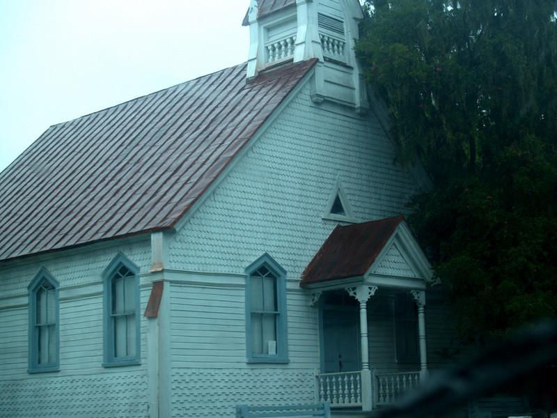 Old church in historic Beaufort, SC (photo through windshield!)