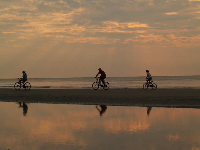 Biking at sunrise
