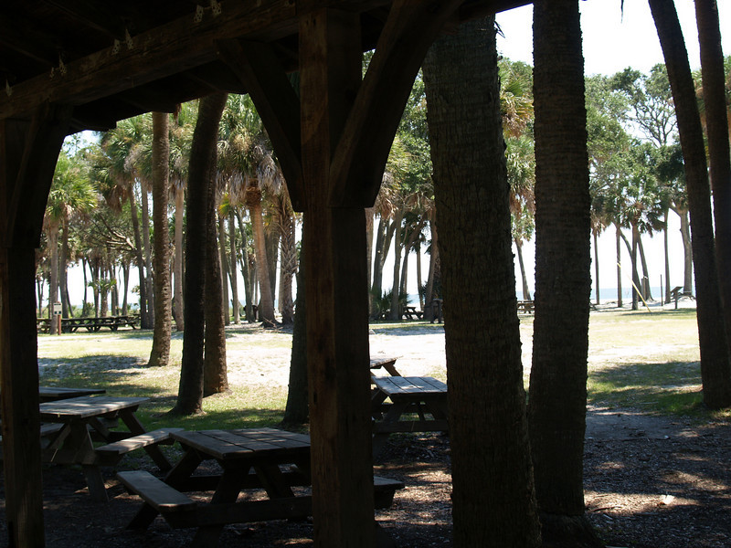 Picnic tables near lighthouse, Hunting Island