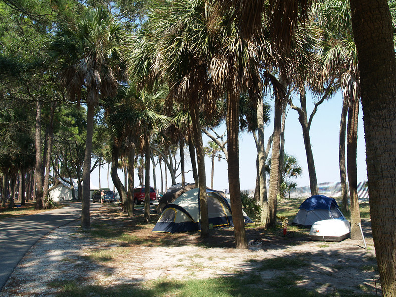 Camping area by beach