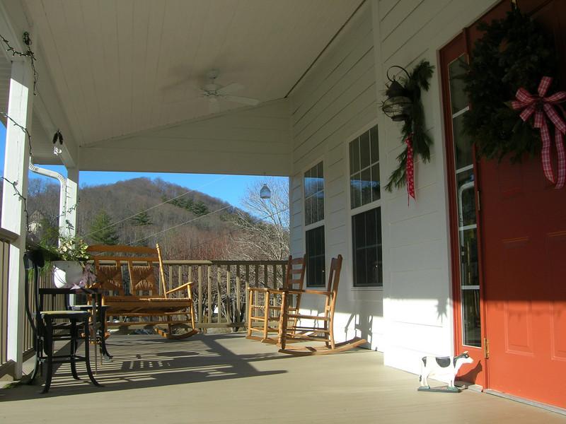 Looking towards mountain, through the porch