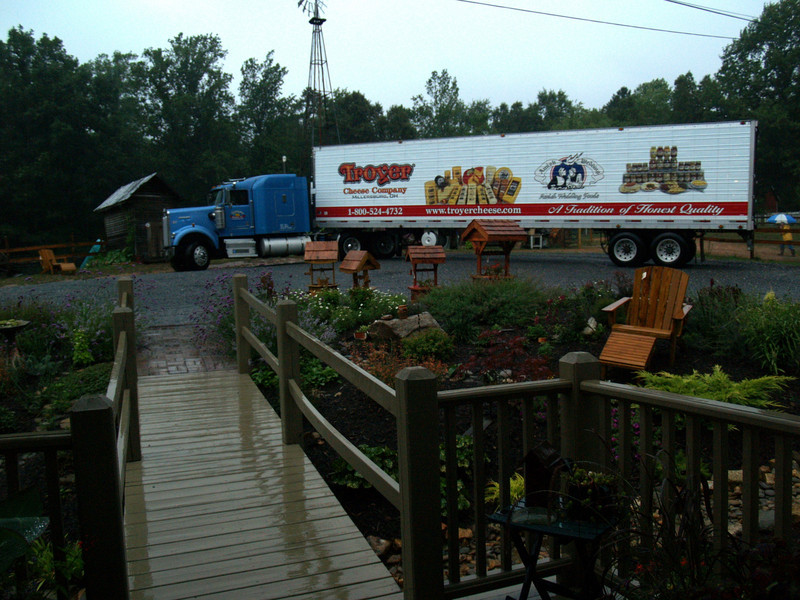 Troyer's Meats truck bringing a load