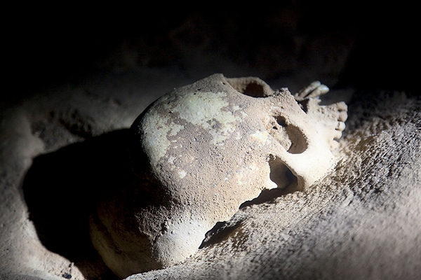 Skull inside the ATM Cave, Belize