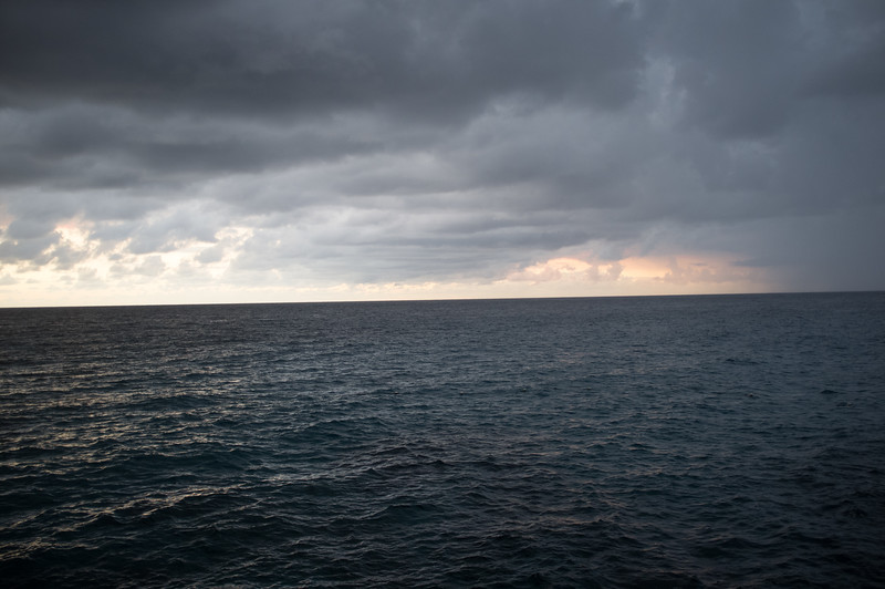 A cloudy sunset in front of The Blackwell Rum Bar