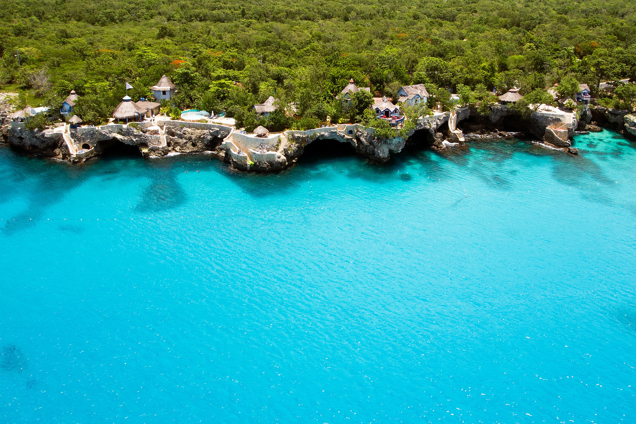 The Caves in Negril Aerial view from helicopter of The Caves in Negril, Jamaica on July 31, 2012.