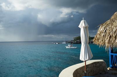 Raining at sea from the Gazebo