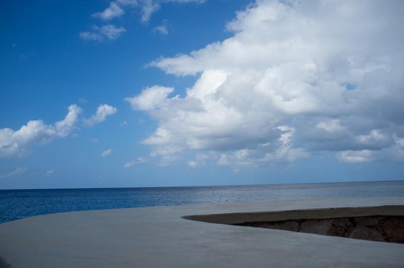 The sea and sky cliffside below Sundancer