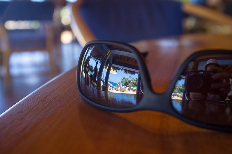 Reflection in Sunglasses in the Morning Lounge
