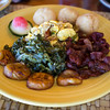 Jamaican Breakfast Ackee & Saltfish, Callaloo, Johnny cakes, bacon, and fried plantains