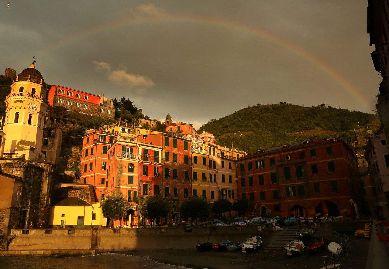 .....a rainbow over the Vernazza Harbor Square...an omen of brighter days ahead.