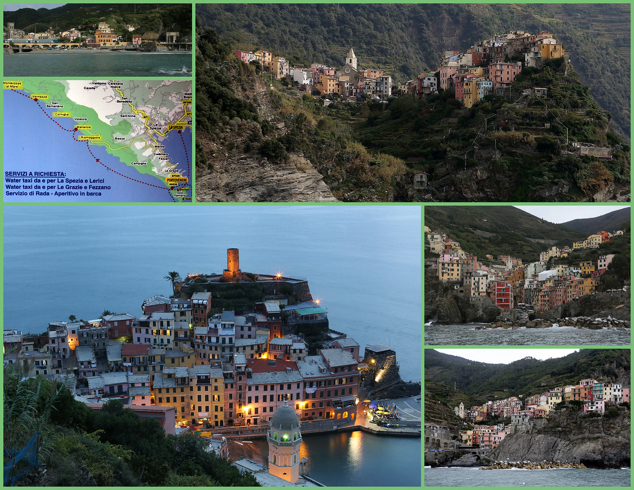 "The Cinque Terre ""Five Lands (Villages)"" from Lower Left Clockwise - Vernazza, our home base for 3 days, with the town center Harbor and Breakwater; Monterosso al Mare, the most beach resort Riveria style; Corniglias, the quiet town not on the water; Riomaggiore, described by Rick Steves' as ""a more laid-back and workaday"" of the Cinque Terre group and tiny and picturesque Manarola."