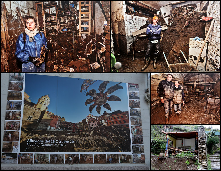 Near the train station is a large photo mural depicting the devastation and loss to homes, businesses and the community of Vernazza from the Flood of October 25th, 2011 - almost exactly three years prior to our visit.  The photo in the lower right corner is what remains of a former home adjacent to one of the streams which overflowed and carried everything in its path to the harbor and sea.