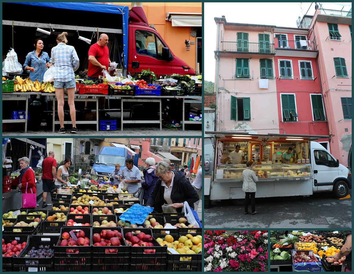 Tuesday morning is market day in Vernazza - vendors set up produce and other stands for Vernazza shoppers.