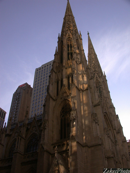 St. Patrick's at dusk on a clear December day.