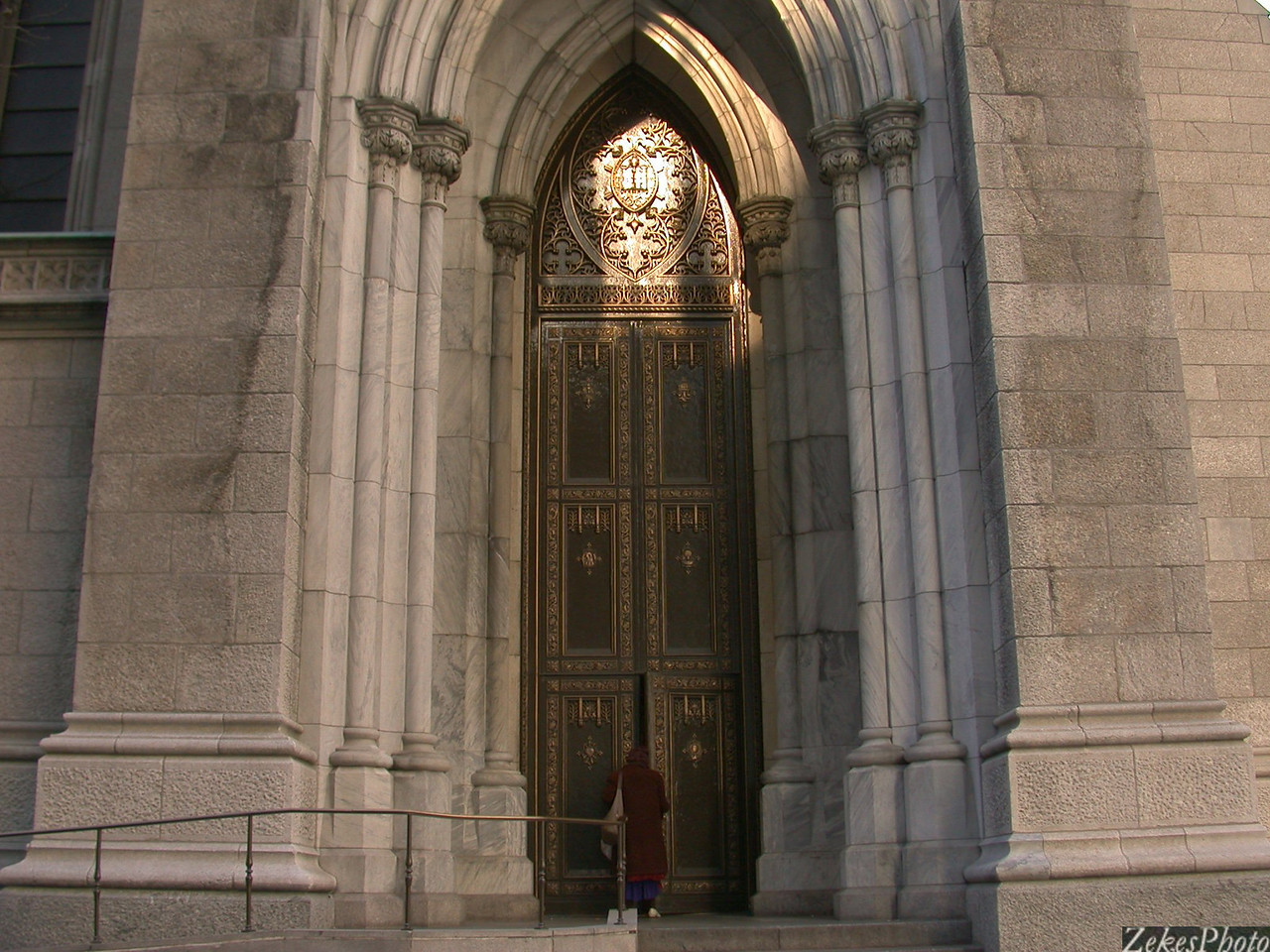 And even the smallest of them shall know greatness;  homeless woman entering the side door at St. Patrick's