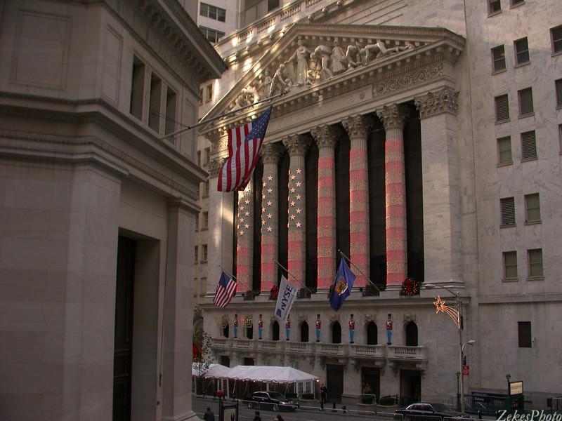 Wall Street lit up.