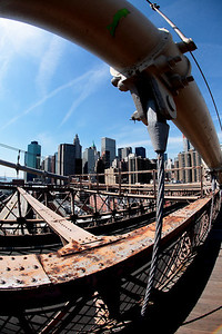 View of Manhattan from the Brooklyn Bridge.