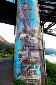 A painted pier of the Bridge of the Gods.