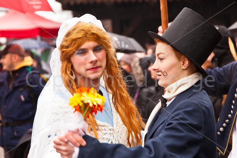 Celebrants at Carnival in Roznov