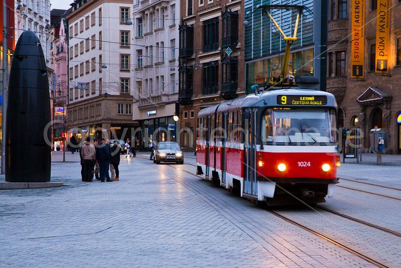 Streetcar in Brno Freedom Square