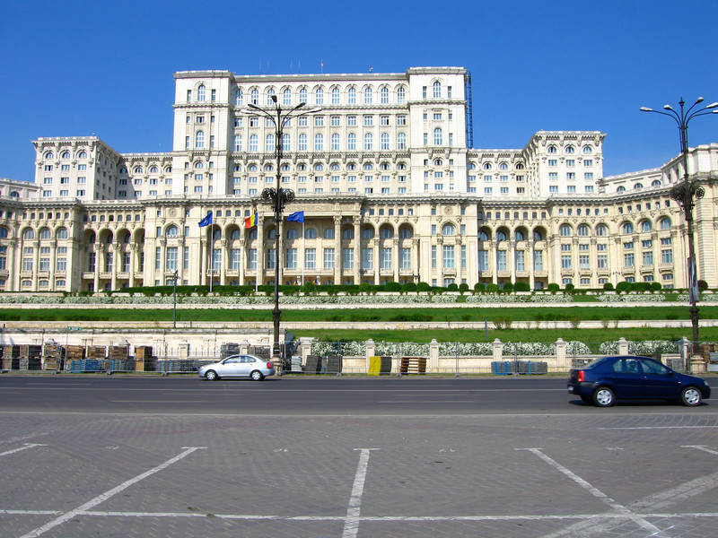 The front of the Place of the Parliament, the second largest building in the world in Bucharest Romania. Constructed in 1980s by Romania's last Communist ruler, Nicolae Ceausescu, the building was not finished before he was ousted from power and later executed.