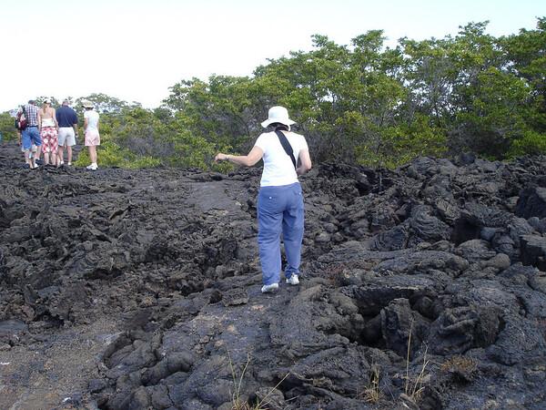 Cyndie navigating Lava rock