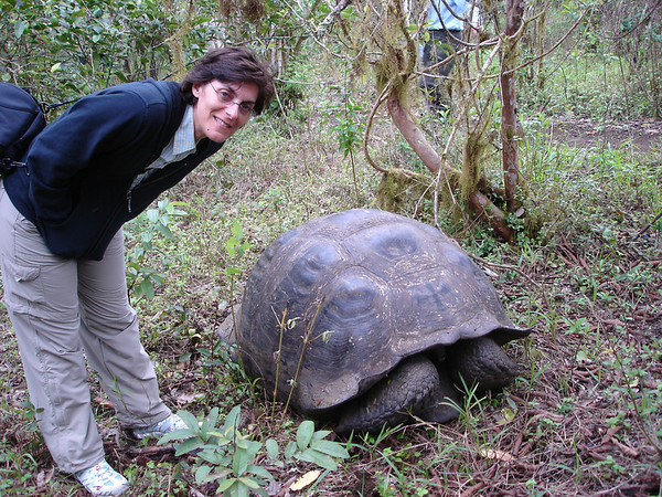 Cyndie poses with giant Tortoise