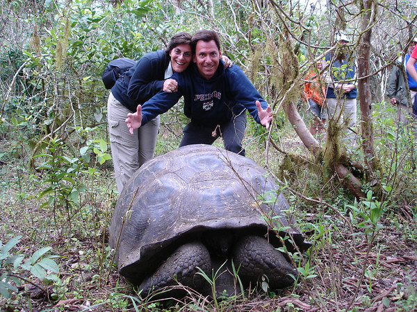 Cyndie & Richard pose with Giant Tortoise