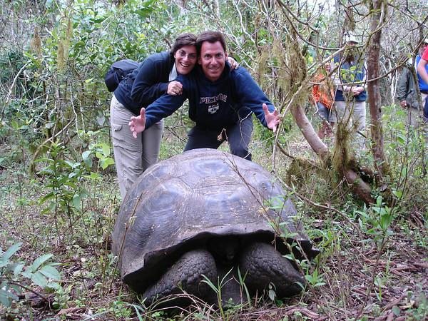 Cyndie & Richard pose with Giant Tortoise