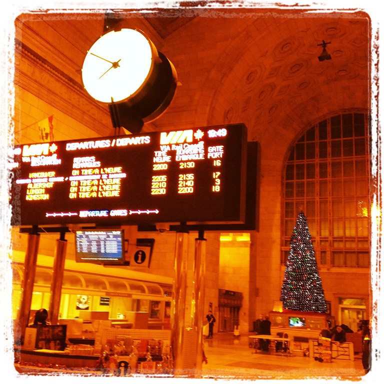 Welcome to The Great Via Rail Canadian Adventure! Thanks for coming along on the ride with me!  The adventure began at Union Station in Toronto the week before Christmas. You can see that the station was all decked out in Christmas finery. You might also see that the departure time was evening, so the station which is normally bustling during the day, was quiet. The air, however, was bristling with excitement waiting for the adventure to begin. Or maybe that was just me :)